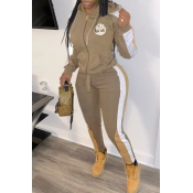 Lovely Sportswear Hooded Collar Patchwork Khaki Two-piece Pants Set
