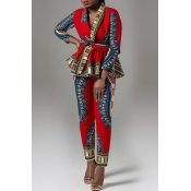 Lovely Work V Neck Print Red Two-piece Pants Set