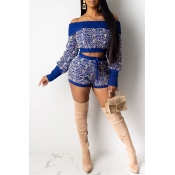 Lovely Leisure Patchwork Blue Two-piece Shorts Set