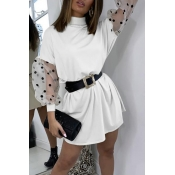 Lovely Sweet Dot Print White Mini Dress