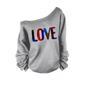 Lovely Casual Letter Print Grey T-shirt