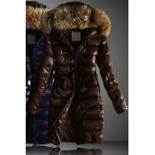 Lovely Casual Hooded Collar Brown Coat