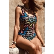 Lovely Hollow-out Print Black One-piece Swimsuit