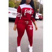 Lovely Casual Hooded Collar Letter Red Two-piece P