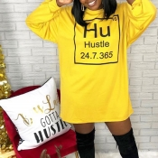 Lovely Casual Letter Printed Yellow Mini Dress