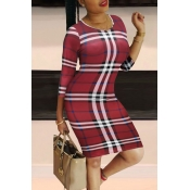 Lovely Casual Plaid Print Red Knee Length Dress
