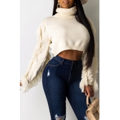 Lovely Casual Tassel Design White  Sweater