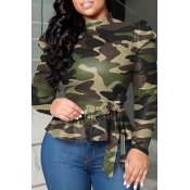 Lovely Casual Camo Army Green Blouse