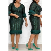 Lovely Trendy Print Flounce Green  Knee Length Plu
