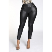 Lovely Chic Buttons Skinny Black Pants