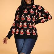Lovely Christmas Day Santa Claus Black Sweater