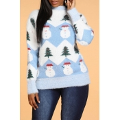 Lovely Christmas Day Patchwork Blue Sweater