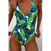 Lovely Print Green One-piece Swimsuit