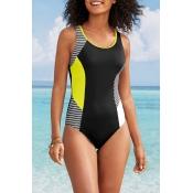 Lovely Patchwork Black One-piece Swimwear