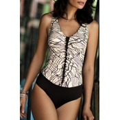 Lovely Patchwork White One-piece Swimsuit