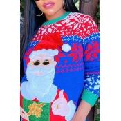 Lovely Chic O Neck Print Multicolor Sweatshirt Hoo