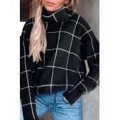 Lovely Plaid Black Sweater
