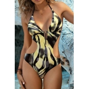 Lovely Hollow-out Zebra Stripe One-piece Swimsuit