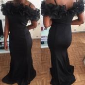 Lovely Party Flounce Black Evening Dress
