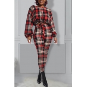 Lovely Casual Plaid Red Two-piece Pants Set