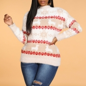 Lovely Christmas Day Striped Khaki Sweater