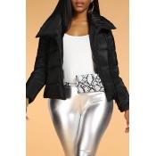 Lovely Casual Basic Short Black Winter Coat