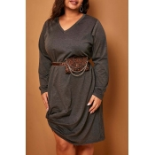 Lovely Casual V Neck Loose Knee Length Plus Size D