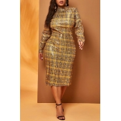 Lovely Casual Plaid Print Yellow  Knee Length Plus