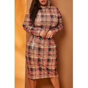 Lovely Casual Plaid Print Red Knee Length Plus Siz