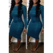 Lovely Casual Striped Blue Knee Length Dress