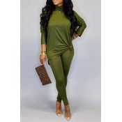 Lovely Casual Turtleneck Basic Green Two-piece Pan
