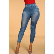 Lovely Casual Patchwork Skinny Blue Leggings(With