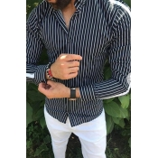 Lovely Casual  Striped Black Shirt