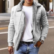 Lovely Casual Turndown Collar Grey Leather