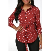 Lovely Casual Dot Print Wine Red Blouse