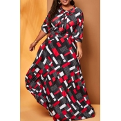 Lovely Casual Print Multicolor Plus Size Maxi Dres