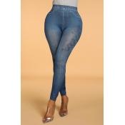 Lovely Casual Print Skinny Blue Leggings(With Elas