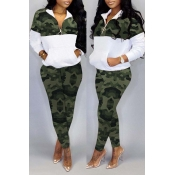 Lovely Trendy Camo Patchwork Green Two-piece Pants