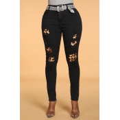 Lovely Casual Leopard Patchwork Black Pants