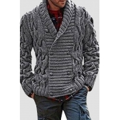 Lovely Casual Buttons Dark Grey Cardigan
