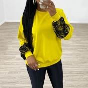 Lovely Chic Patchwork Yellow Sweatshirt Hoodie
