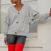 Lovely Casual V Neck Flounce Grey Cardigan