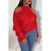 Lovely Casual Dew Shoulder Red Sweater