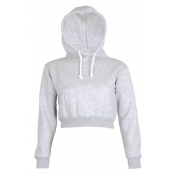 Lovely Casual Hooded Collar Crop Top Light Grey Ho