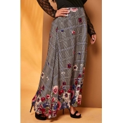 Lovely Trendy Floral Grey Plus Size Skirt