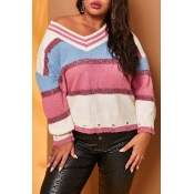 Lovely Chic Color-lump Patchwork Pink Plus Size Sw