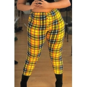 Lovely Casual Plaid Print Yellow Pants