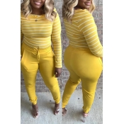 Lovely Chic Striped Yellow Two-piece Pants Set