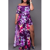 Lovely Chic Floral Print Purple Ankle Length Plus