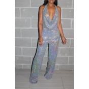 Lovely Stylish V Neck Silver  One-piece Jumpsuit